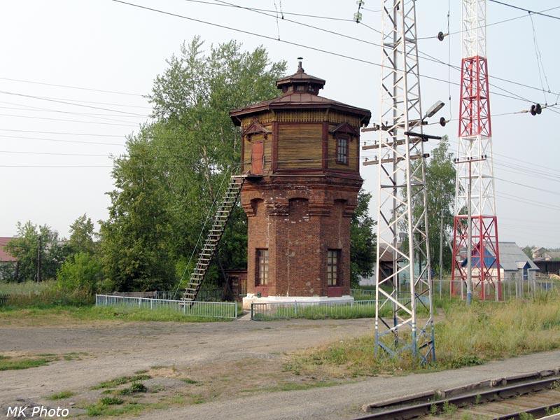 Водонапорная башня с лестницей на ст. Бородулино